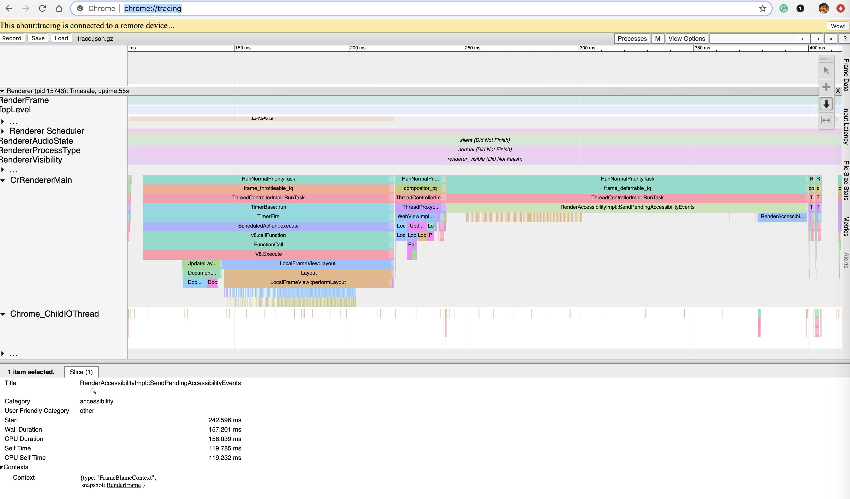tracing の問題部分のログ画面の拡大
